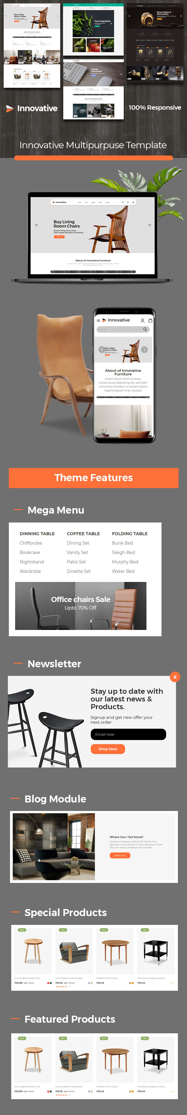 Innovative Furniture Food - jewellery Electronics Prestashop Responsive Theme - 1